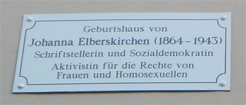 Commemorative plaque at the birthplace of Johanna Elberskirchen © Ingeborg Boxhammer 2004
